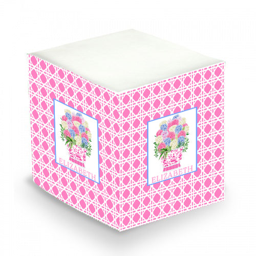Bouquet Pink Blue Hydrangeas Pink Wicker Sticky Memo Cube