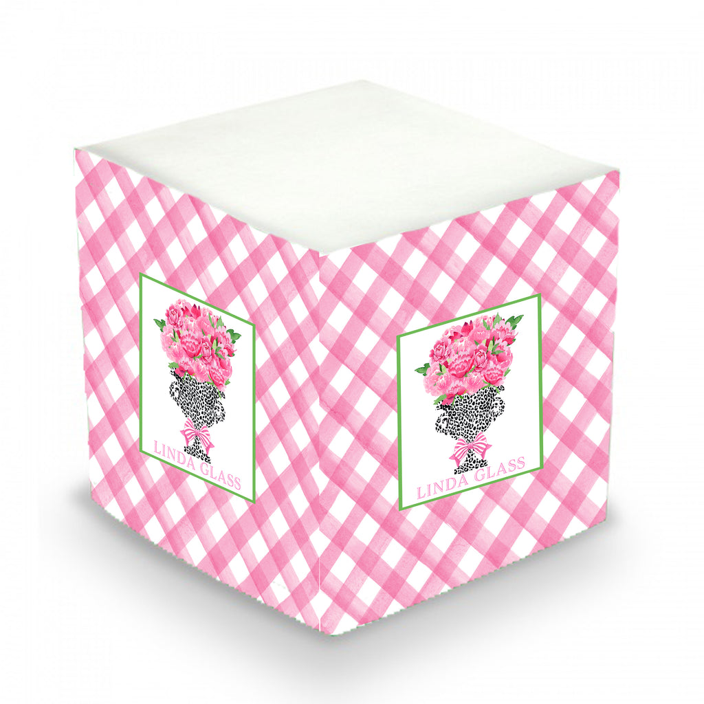 Bouquet Pink Peonies Black Cheetah Urn Sticky Memo Cube