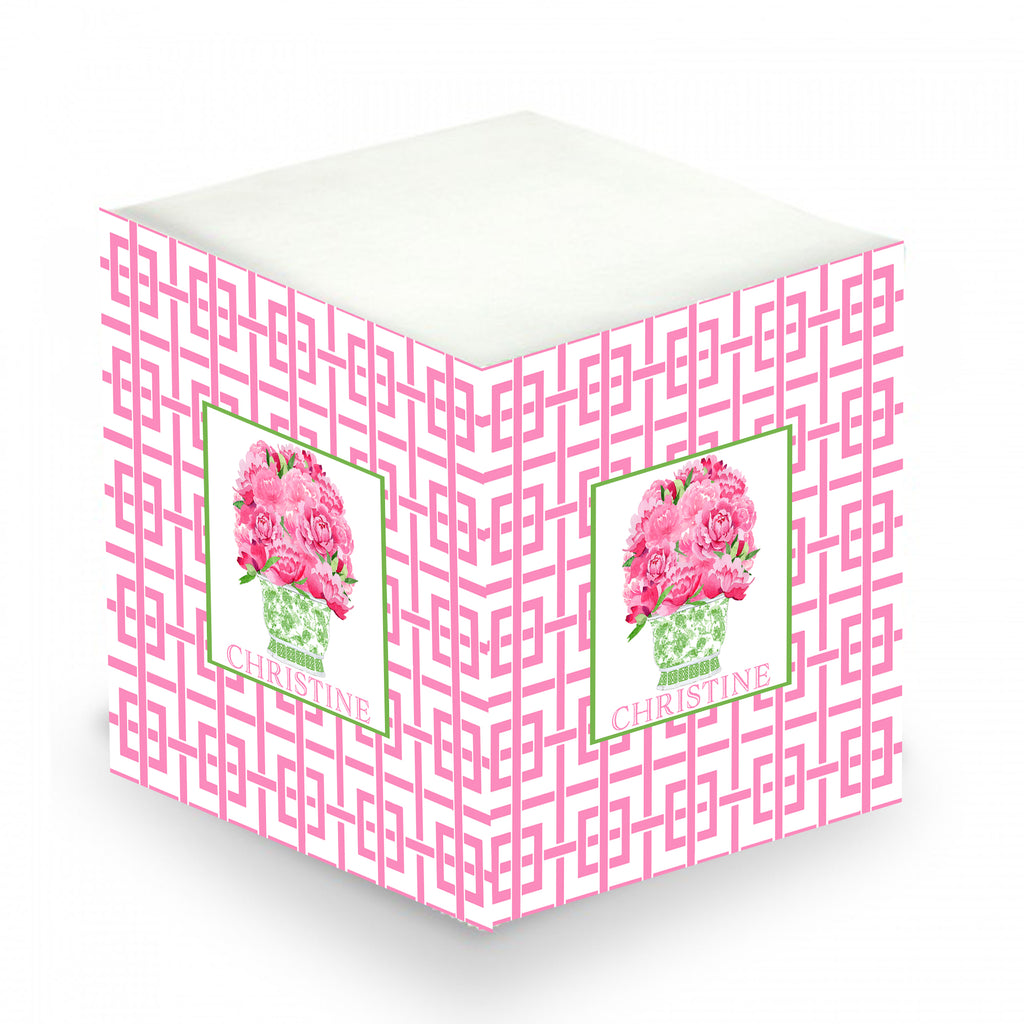 Bouquet Pink Peonies in Green Planter and Trellis Sticky Memo Cube