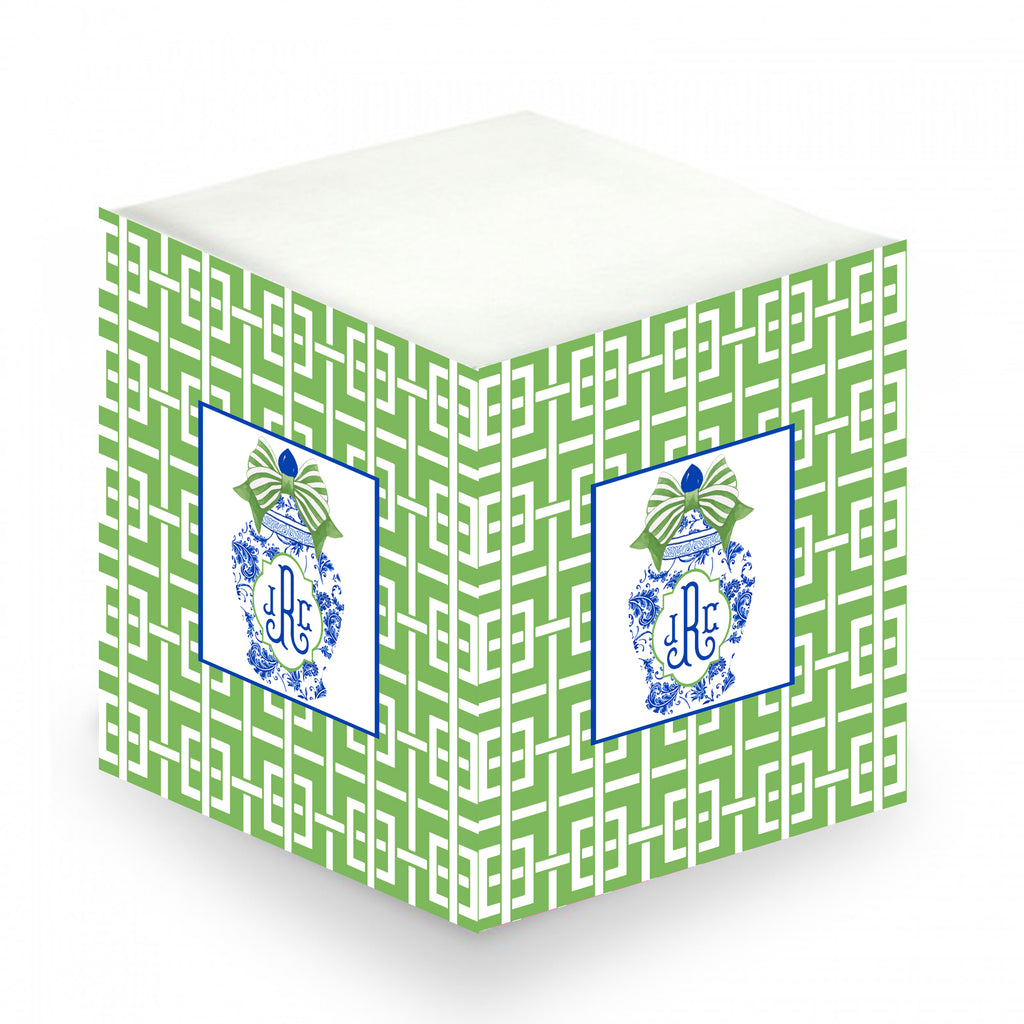 Ginger Jar with Green Bow and Trellis Sticky Memo Cube