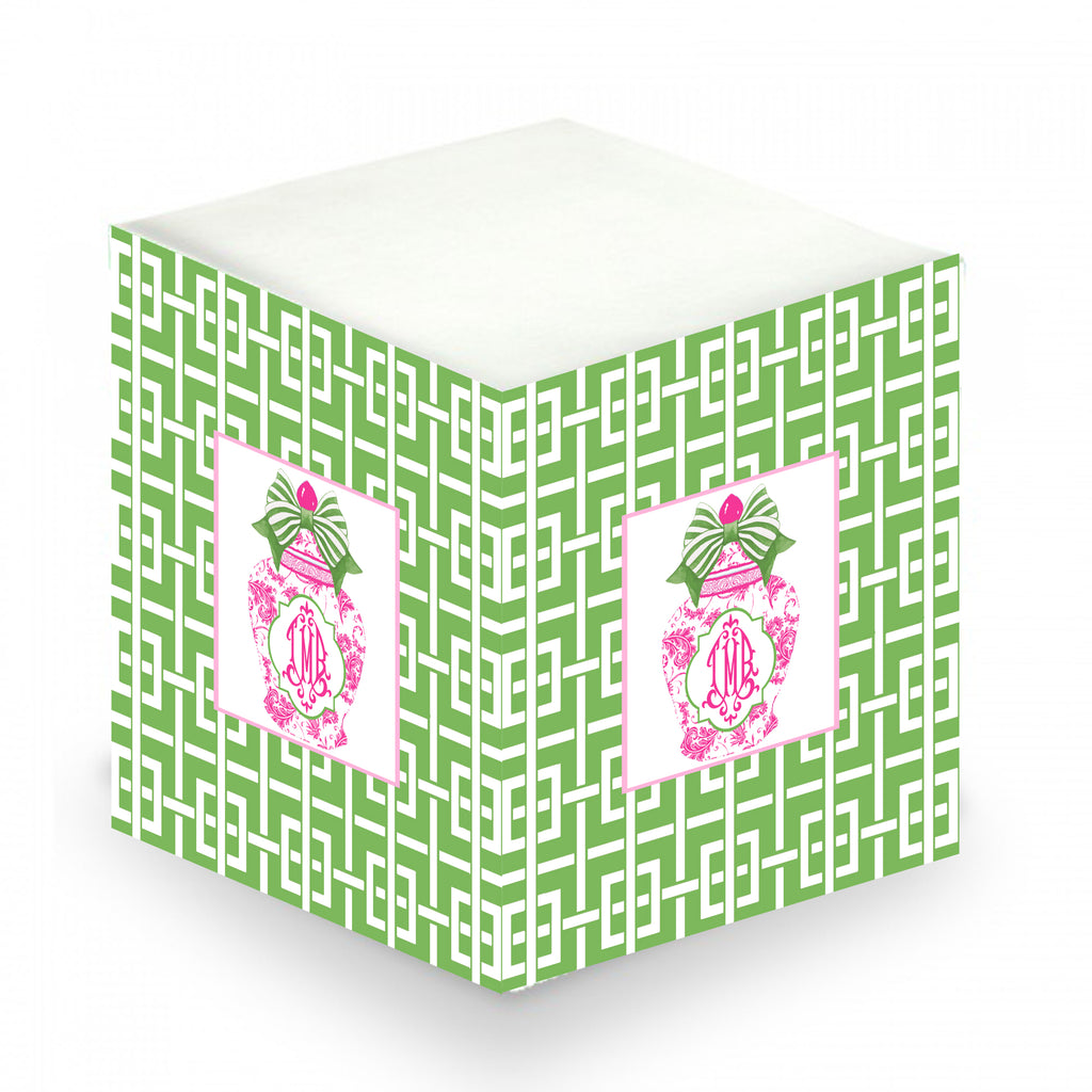 Ginger Jar Pink with Green Bow and Trellis Sticky Memo Cube