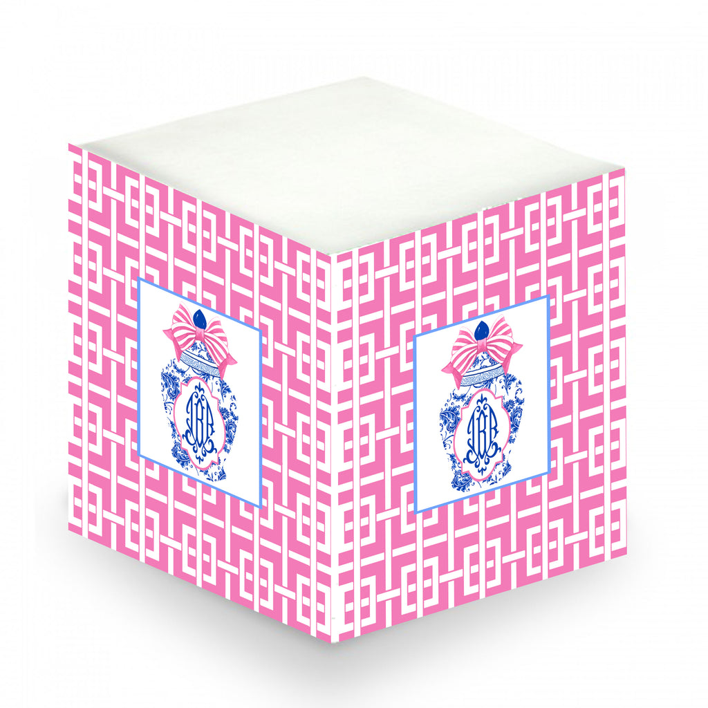 Ginger Jar with Pink Bow and Trellis Sticky Memo Cube