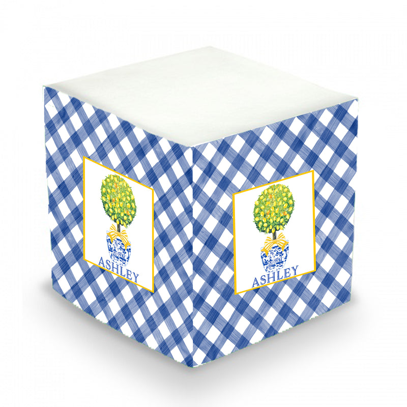 Topiary with Lemons and Blue Gingham Sticky Memo Cube