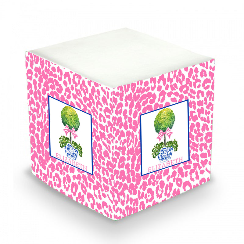 Topiary with Pink Bow and Cheetah Print Sticky Memo Cube