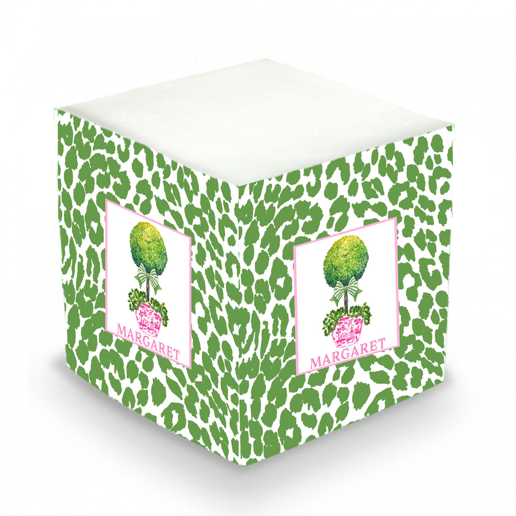 Topiary Pink with Green Bow and Cheetah Print Sticky Memo Cube