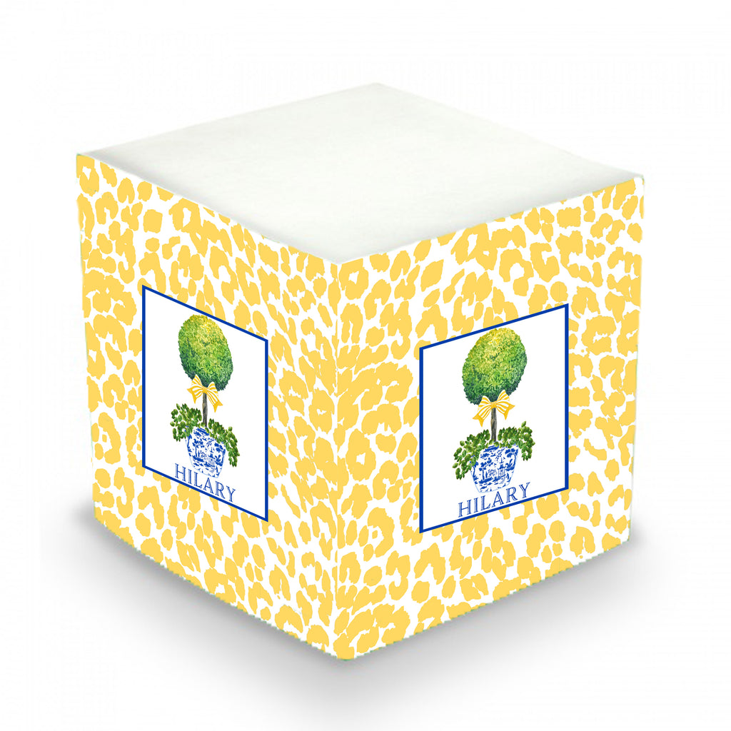 Topiary with Yellow Bow and Cheetah Print Sticky Memo Cube