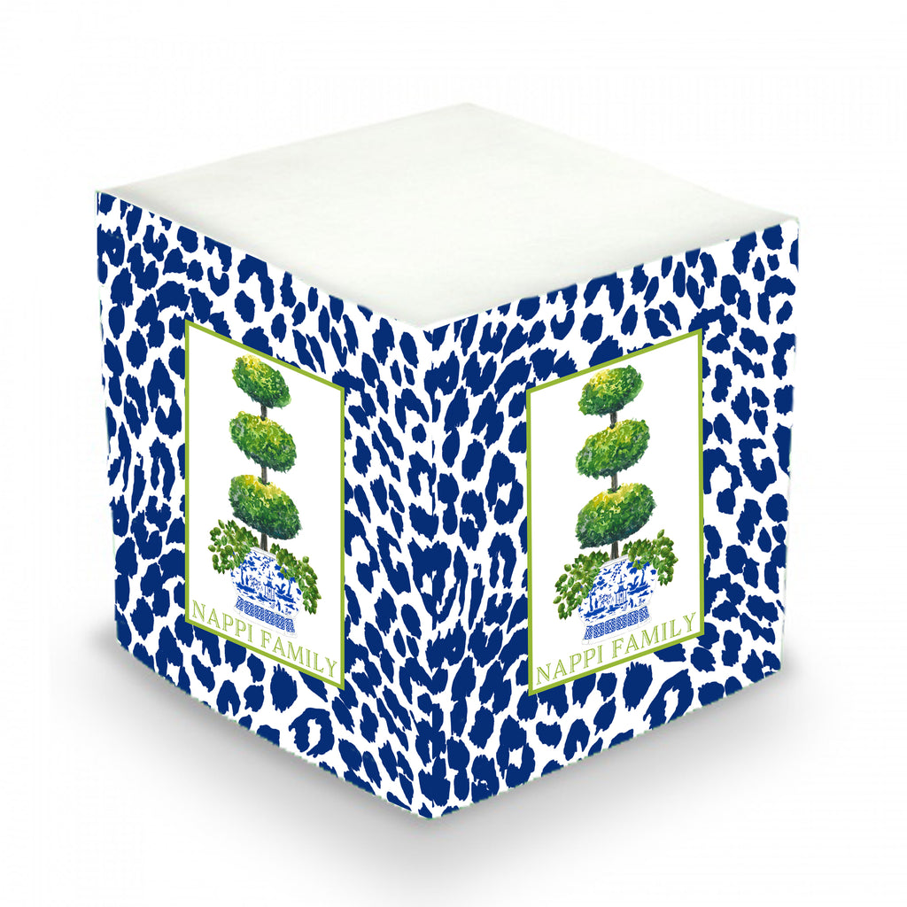 Triple Topiary and Navy Cheetah Print Sticky Memo Cube