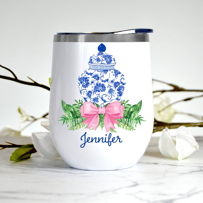 Ginger Jar Swag with Pink Bow Stemless Insulated Tumbler