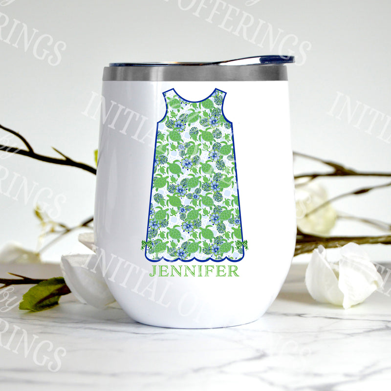 Kiwi Turtle Print Shift Dress Stemless Insulated Tumbler