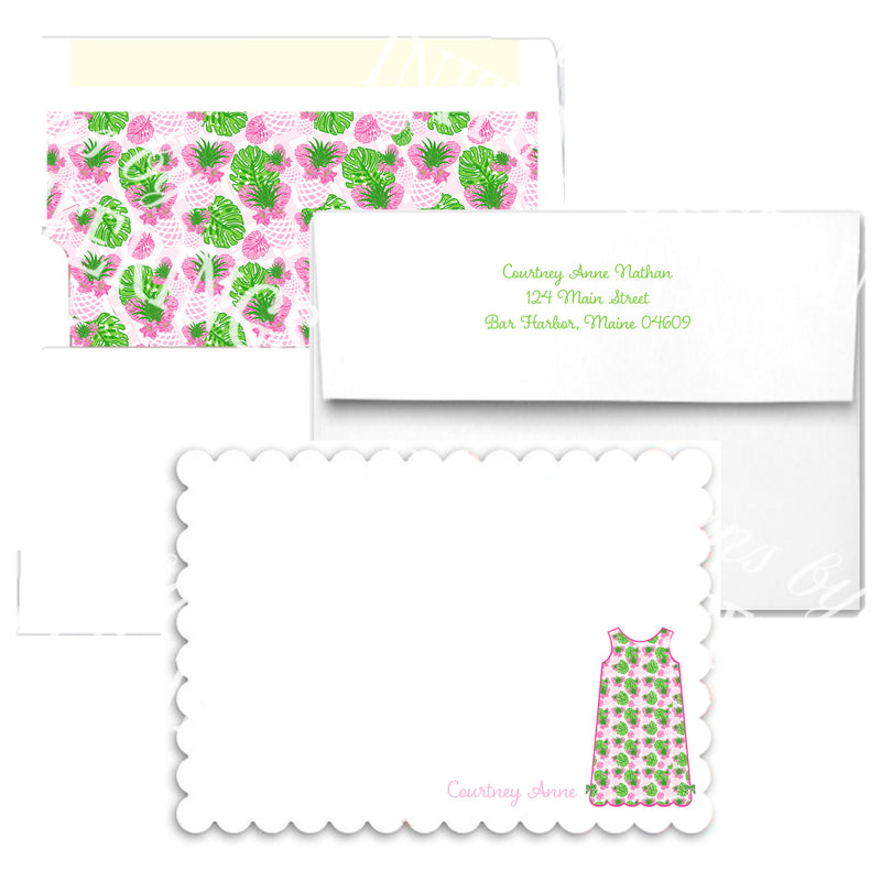 Pink Pineapple Shift Scallop Edge Notecards