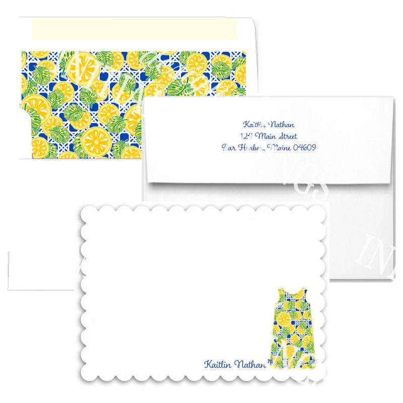 Yellow Citrus Shift Scallop Edge Notecards