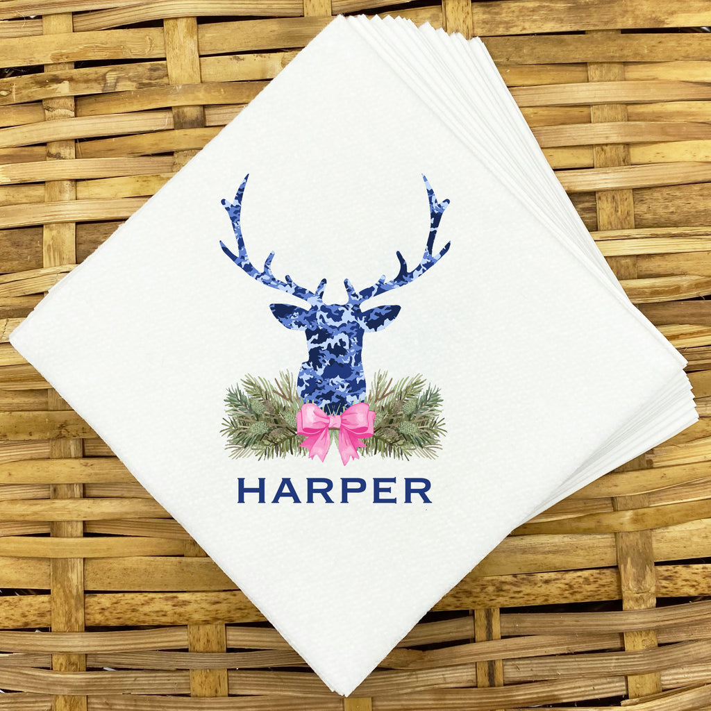 Blue Camo Stag Head Swag Napkins and Guest Towels