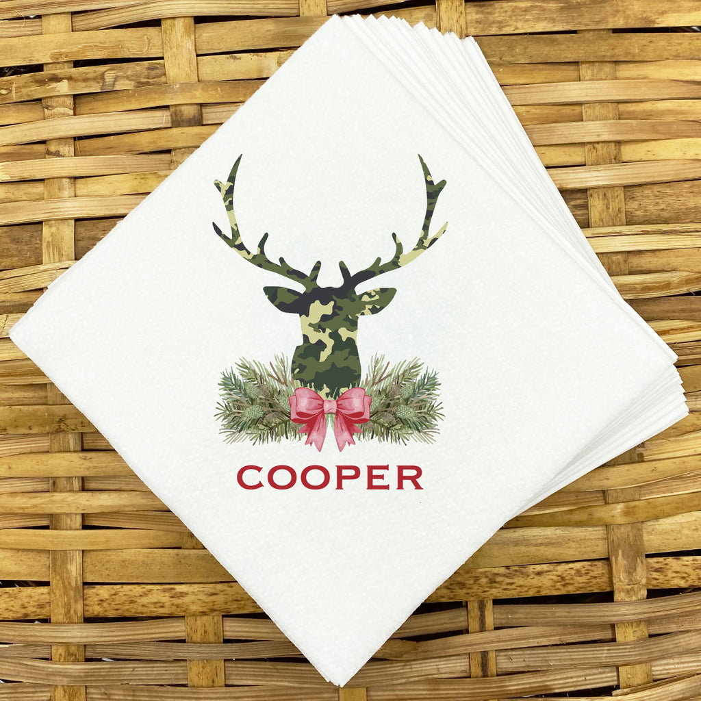Green Camo Stag Head Swag Napkins and Guest Towels