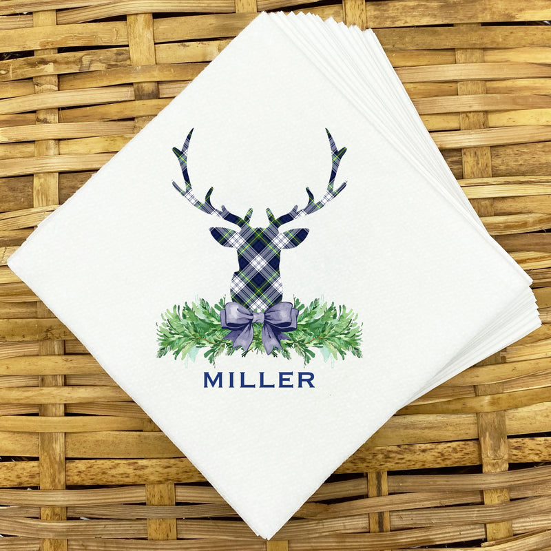 Dress Gordon Tartan Plaid Stag Head Napkins and Guest Towels