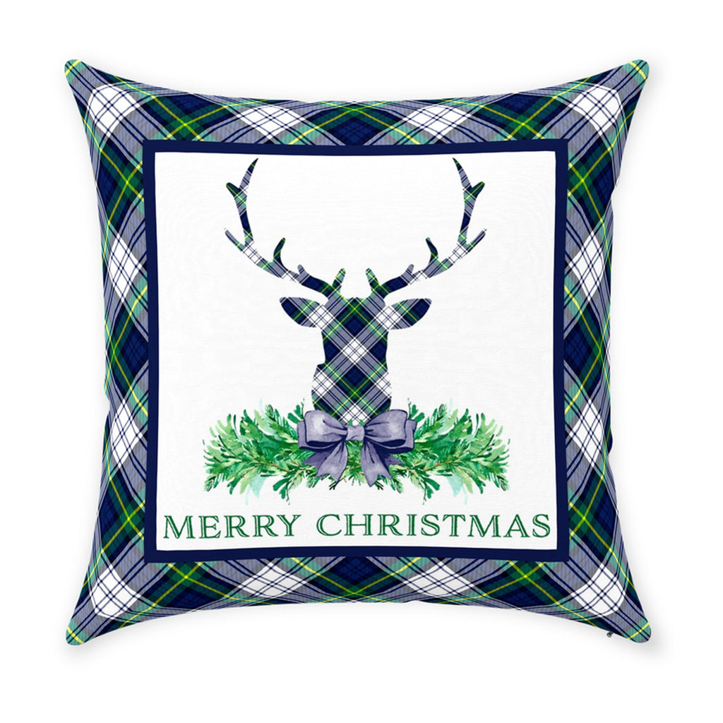 Dress Gordon Tartan Plaid Stag Head Swag Pillow