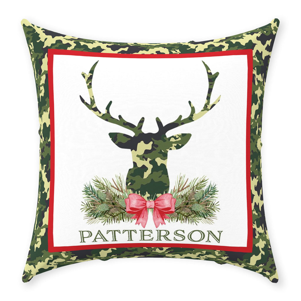 Green Camo Stag Head Swag Pillow