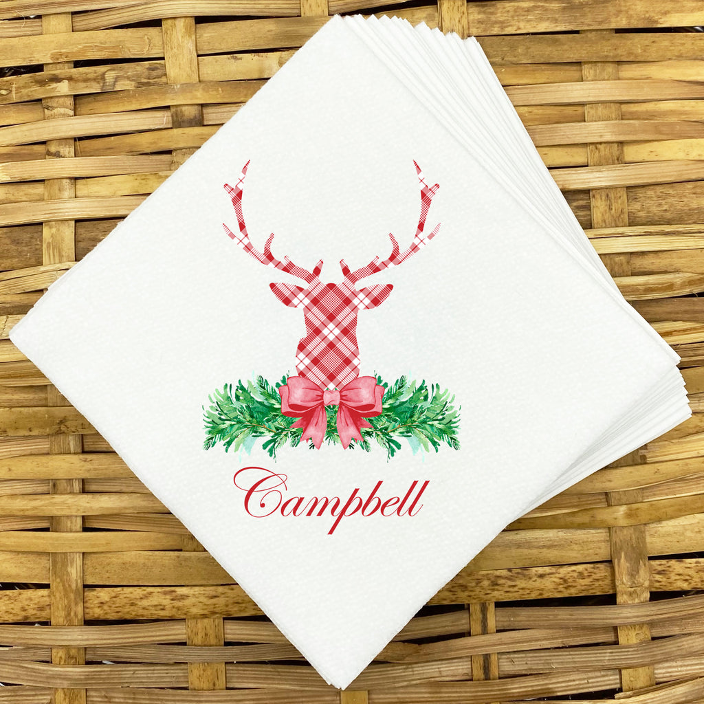 Red and White Plaid Stag Head Swag Napkins and Guest Towels