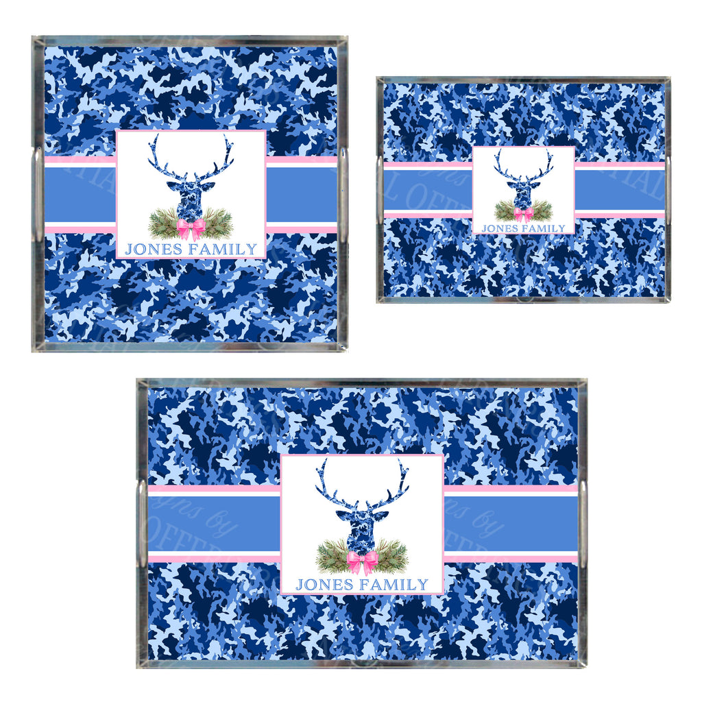 Blue Camo Stag Head Swag Acrylic Tray in 3 Sizes