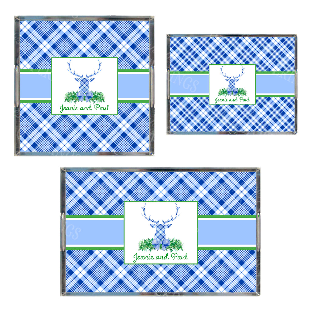 Blue and White Plaid Stag Head Swag Acrylic Tray in 3 Sizes