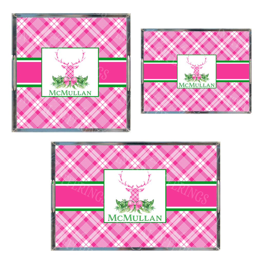 Pink and White Plaid Stag Head Swag Acrylic Tray in 3 Sizes