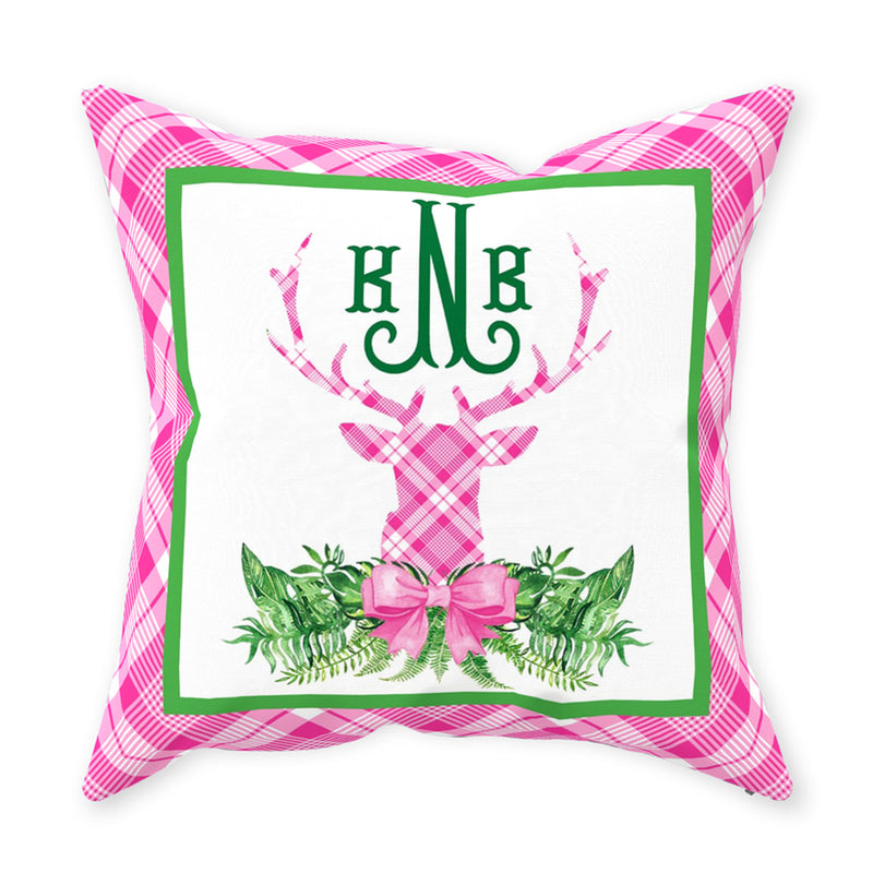 Pink and White Plaid Stag Head Swag Pillow