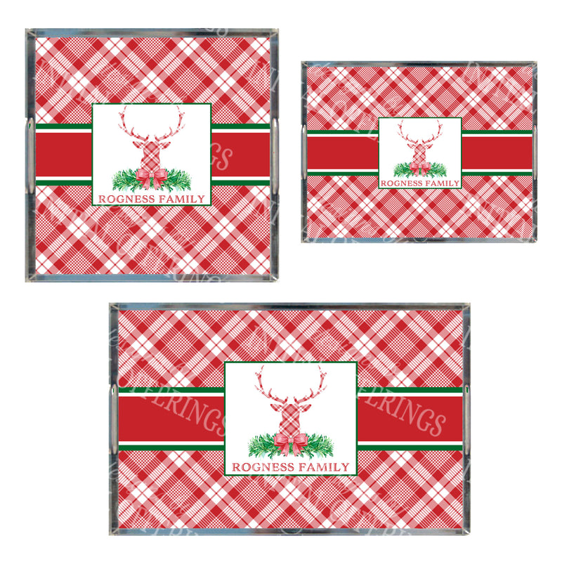 Red and White Plaid Stag Head Swag Acrylic Tray in 3 Sizes