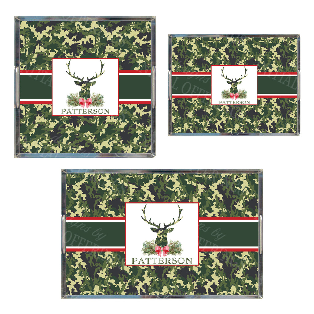 Green Camo Stag Head Swag Acrylic Tray in 3 Sizes