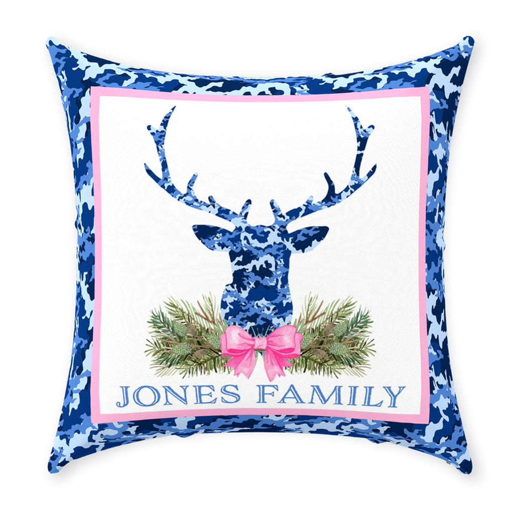 Blue Camo Stag Head Swag Pillow