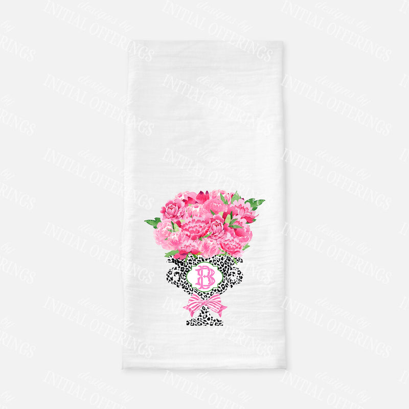Bouquet Pink Peonies in Black Cheetah Planter Tea Towel