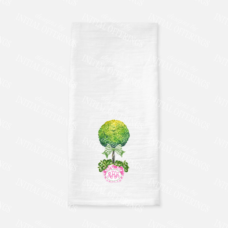 Topiary in Pink Planter Green Bow Tea Towel