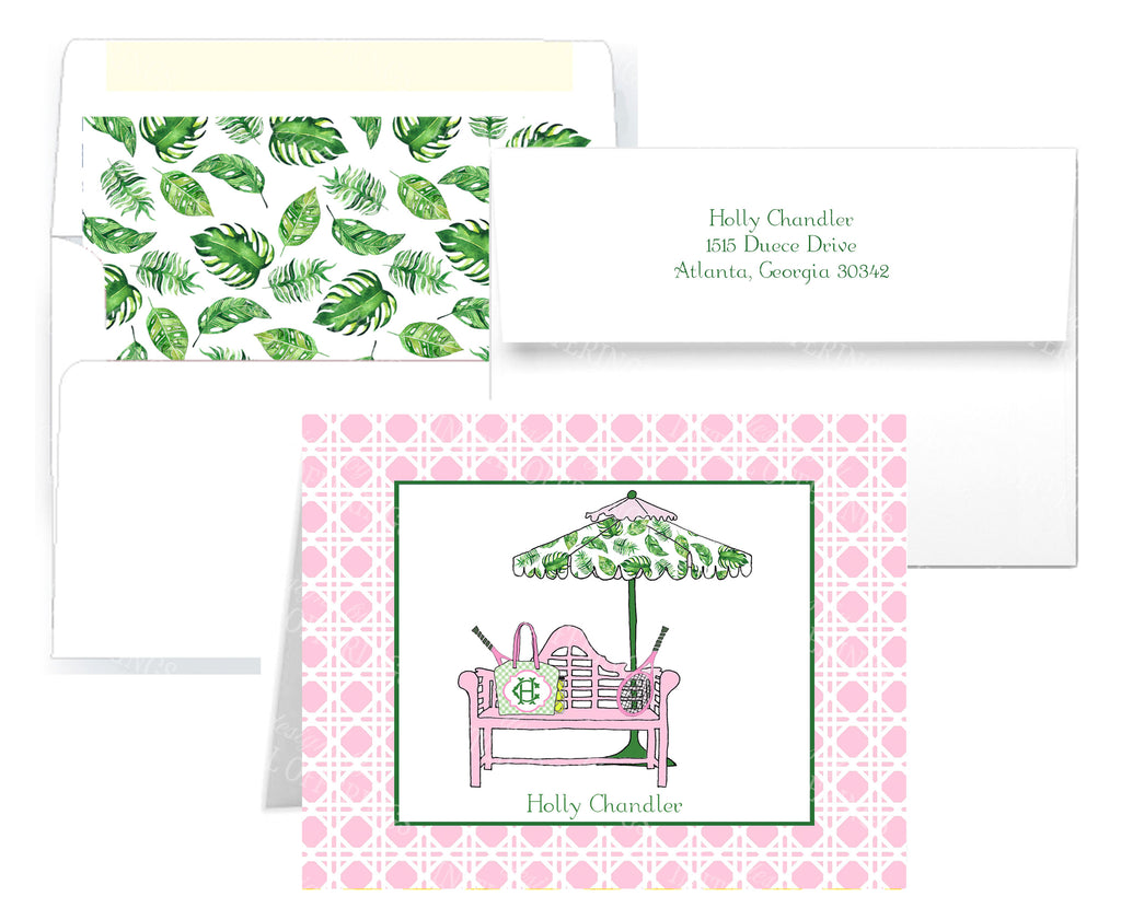 Tennis Bench Pink and Green Notecards