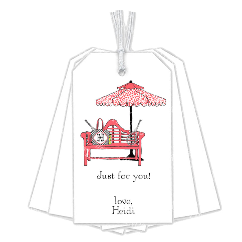 Coral and Black Tennis Bench Gift Tags