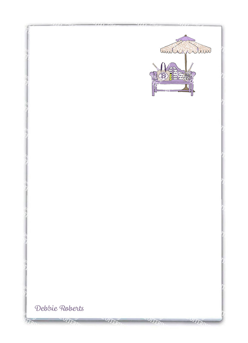 Lavender and Khaki Tennis Bench Notepad