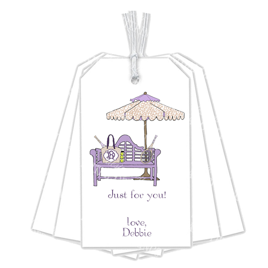 Tennis Bench Lavender and Khaki Gift Tags