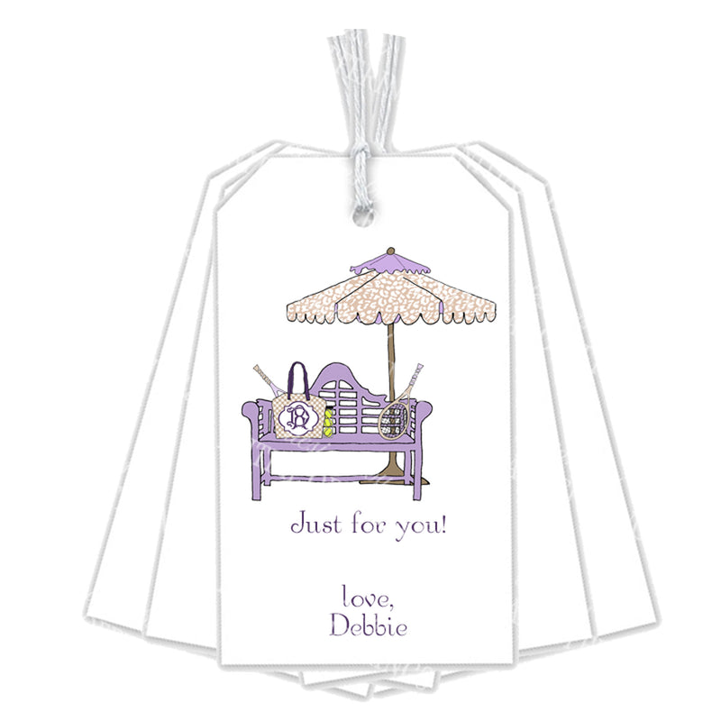 Lavender and Khaki Tennis Bench Gift Tags