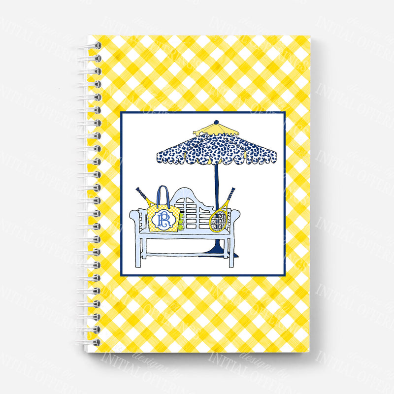 Navy and Yellow Tennis Bench Journal Notebook