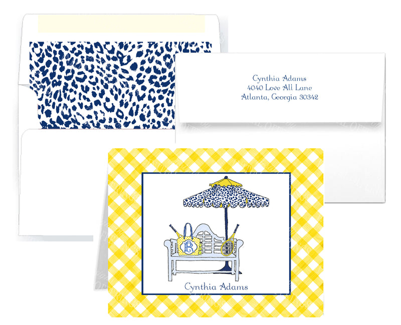 Tennis Bench Navy and Yellow Notecards