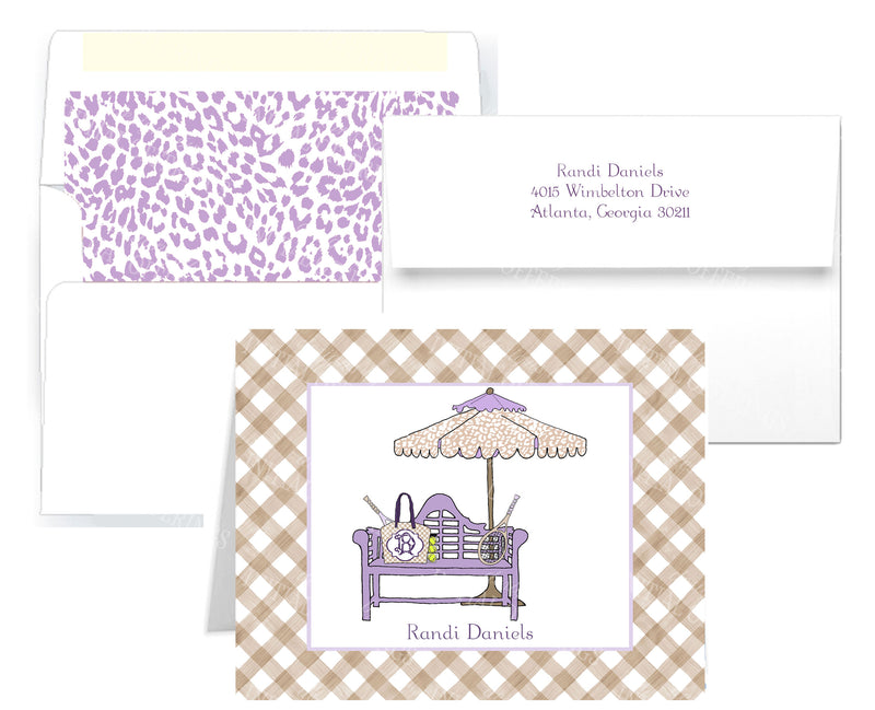 Tennis Bench Lavender and Khaki Notecards