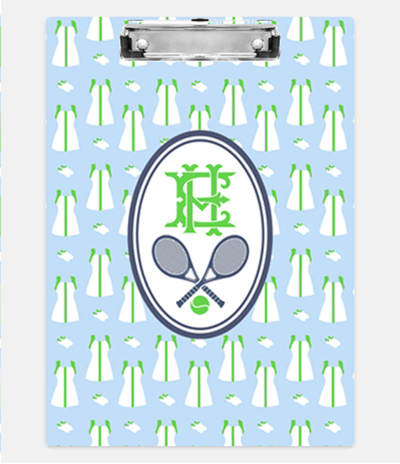 Tennis Dress Repeat Light Blue and Green Clipboard