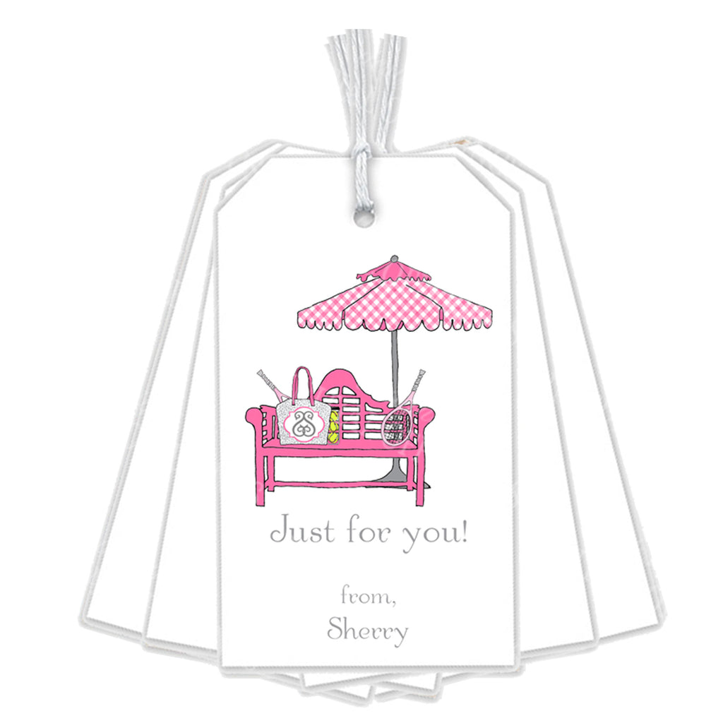 Court Side Pink and Grey Gift Tags