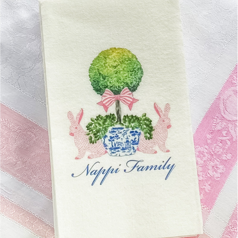 Bunnies with Topiary Napkins and Guest Towels