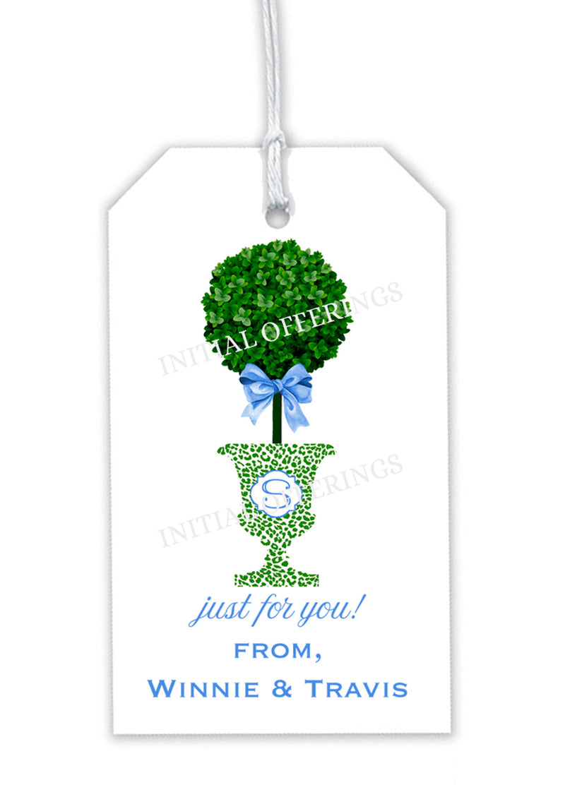 Topiary in Green Cheetah Urn Blue Bow Gift Tag