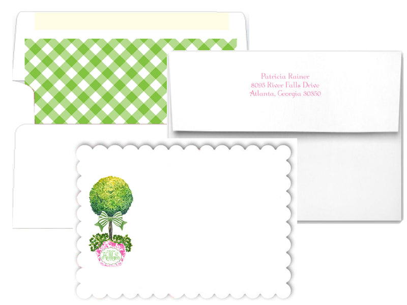 Topiary in Pink Planter with Green Bow Scalloped Notecards