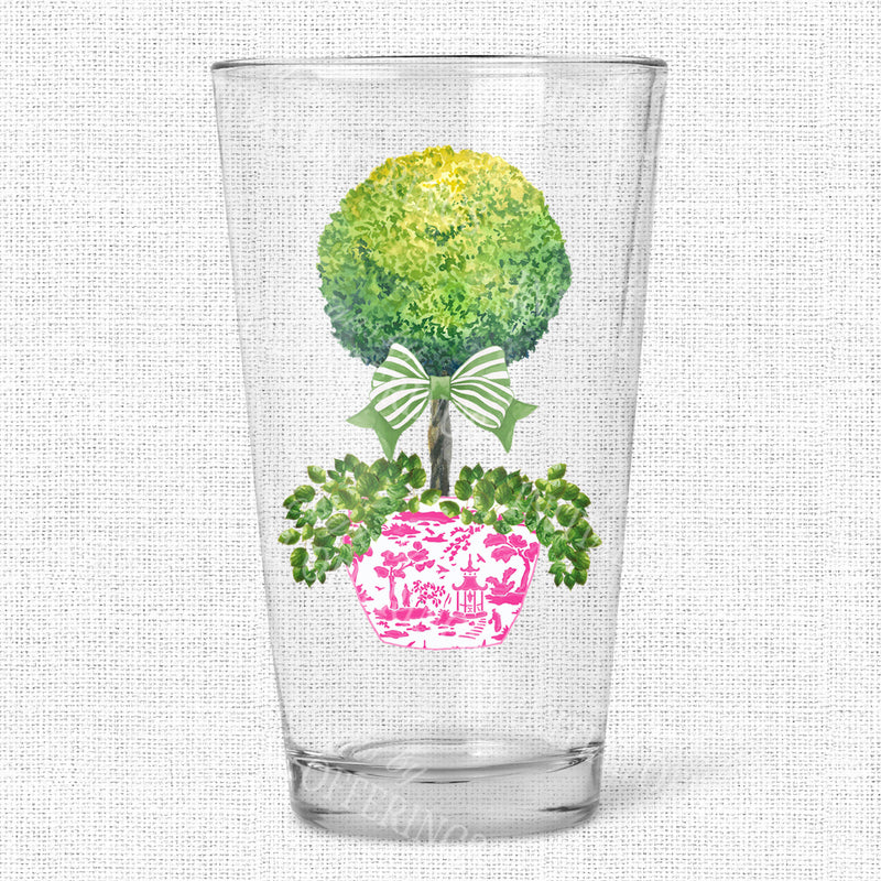 Topiary in Pink Planter Green Bow Glasses