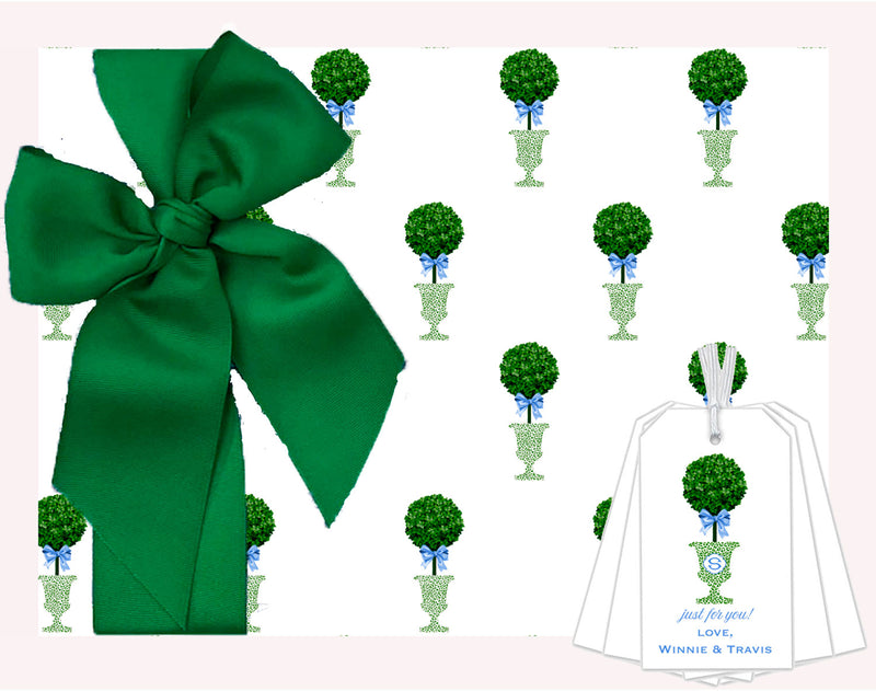 Topiary in Green Cheetah Urn Wrapping Paper