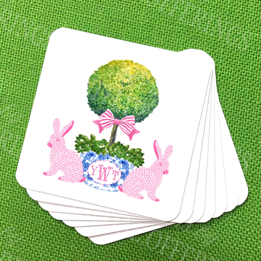Bunnies with Topiary Coasters