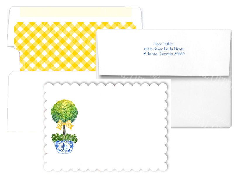 Topiary with Yellow Bow Scalloped Notecards