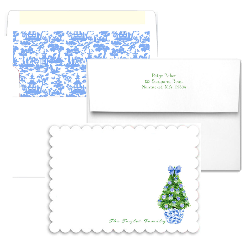 Blue and White Christmas Tree Scalloped Notecards