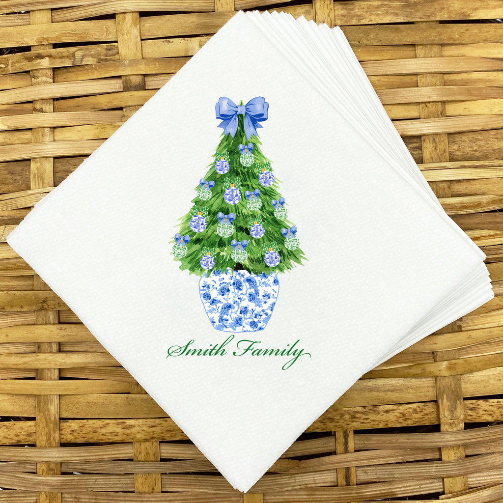 Blue and Green Christmas Tree Napkins and Guest Towels