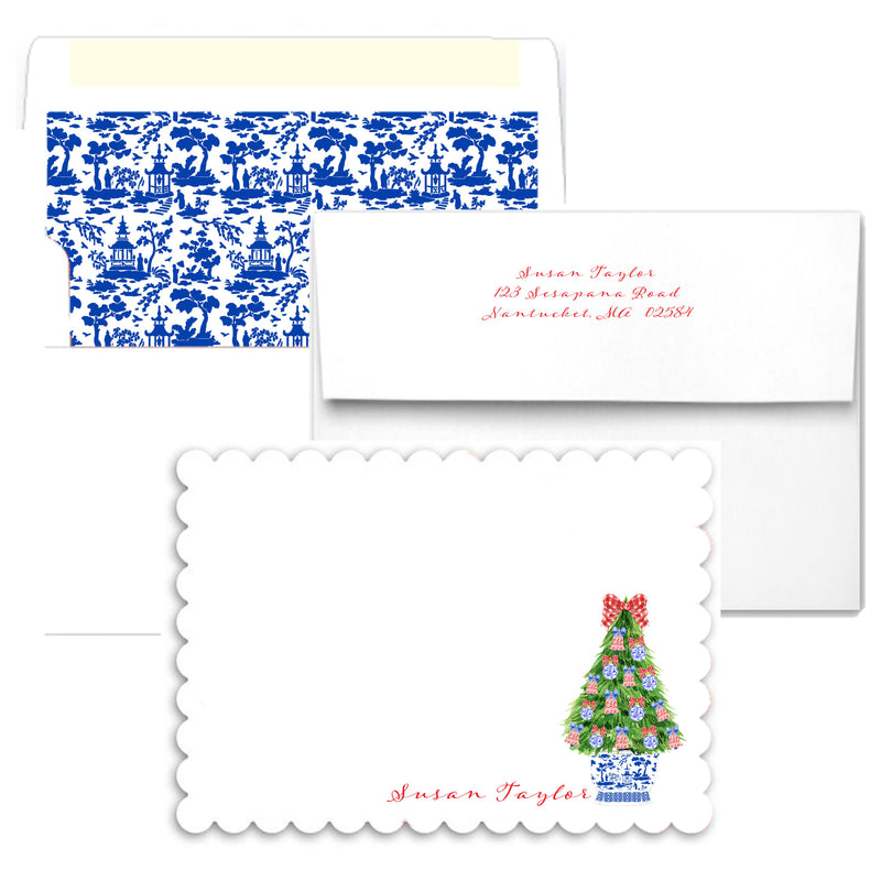 Red and Blue Christmas Tree Scalloped Notecards
